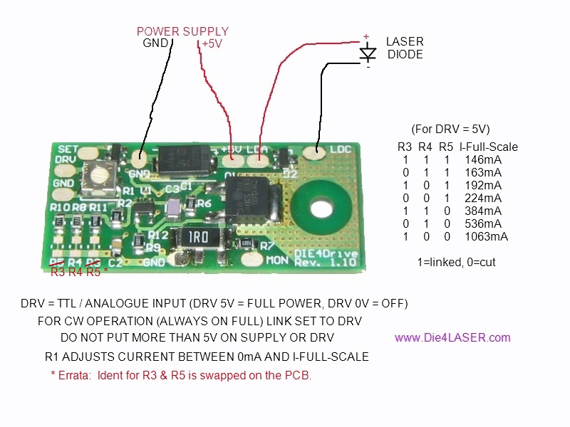 Die4Drive on laser diode driver circuit schematic